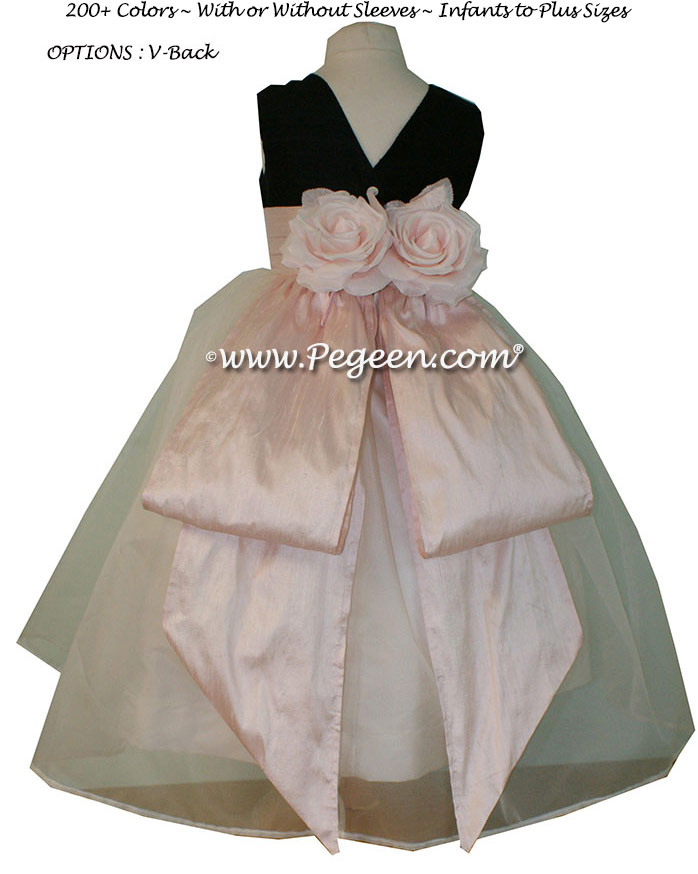 Custom Black and Baby Pink Silk Organza Flower Girl Dresses Style 313