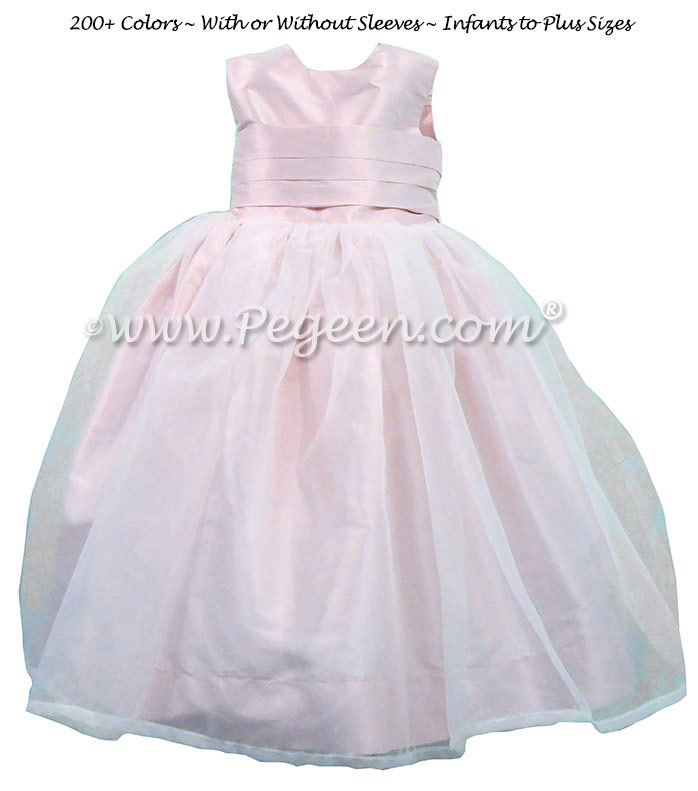Custom Flower Girl Dress in White and Petal Pink and Silk Organza | Pegeen