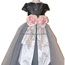Platinum and Pewter Silk Flower Girl Dresses by PEGEEN CUSTOM FLOWER GIRL DRESSES