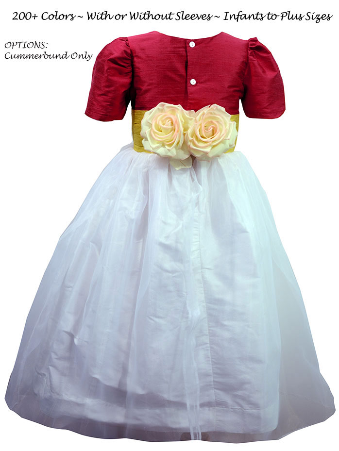 Flower Girl Dress With Back Flowers  White, Rouge and Saffron Silk Custom  | Pegeen
