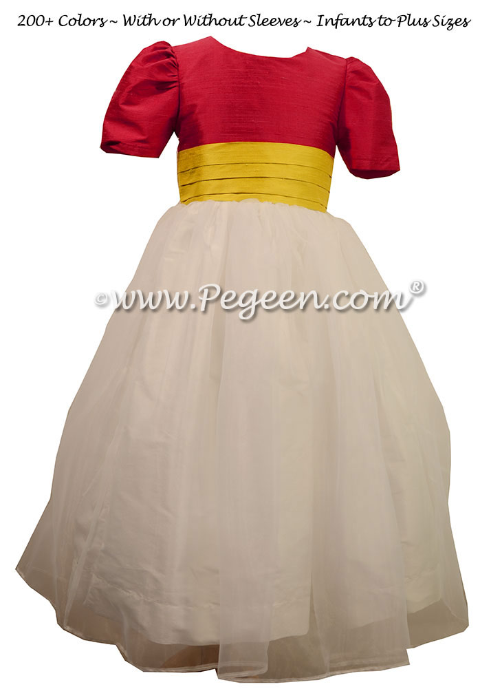 Antique White, Rouge and Saffron Silk Flower Girl Dresses  Style 313