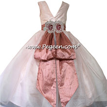 Custom Blush and Rum Pink silk Organza Flower Girl Dresses by Pegeen