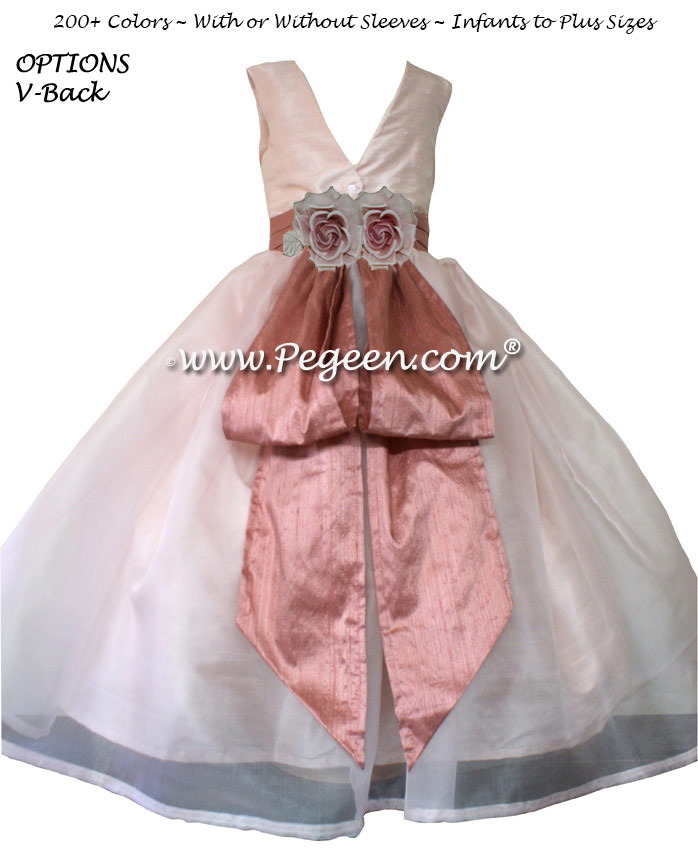 Flower Girl Dress in Blush and Rum Pink silk Organza Style 313 | Pegeen