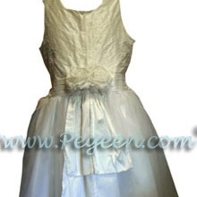 Antique White silk junior bridesmaids dresses