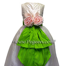 Flower Girl Dresses in bright apple green