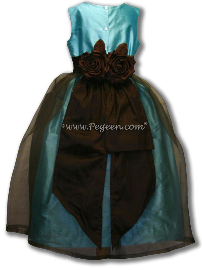Tiffany Blue and Chocolate Brown Organza and Silk Flower Girl Dress Style 313