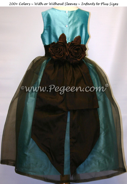 Tiffany Blue and Chocolate Brown Organza and Silk Junior Bridesmaids Dress Style 313