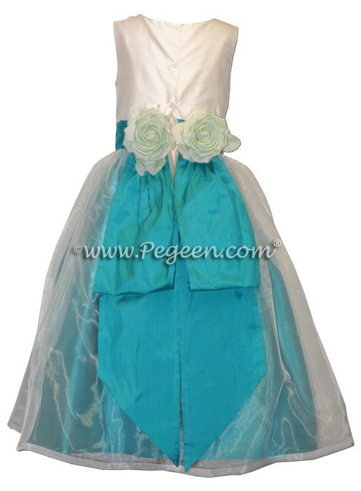 Turquoise and White Silk and Organza Flower Girl Dresses Style 313