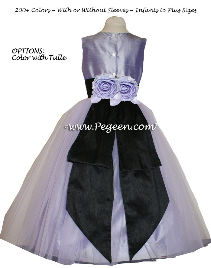 Silk Flower Girl Dresses Style 313 in Victorian (Lavender) and Black  | Pegeen