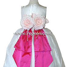 Antique White and shoch pink silAntique White and Shock Pink CUSTOM Flower Girl Dresses BY PEGEEN