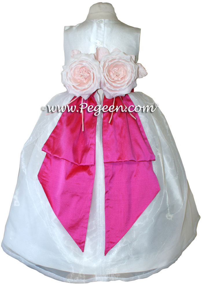 Antique White and Shock Pink Flower Girl Dresses with Special Back Flowers