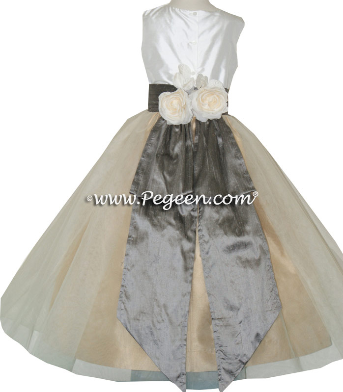 White and Wolf Gray and Spun Gold Tulle Flower Girl Dresses With Back Flowers Style 313