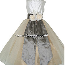 Wolf Gray and Spun Gold TULLE CUSTOM Flower Girl Dresses BY PEGEEN