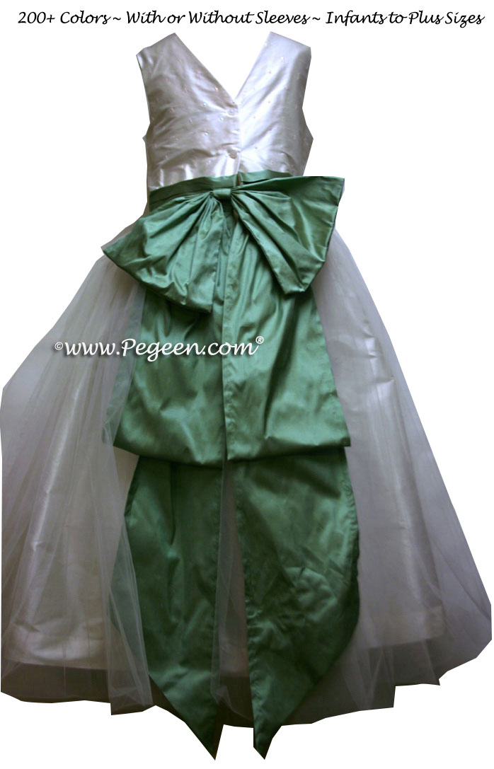 Sequin silk and celedon SILK ORGANZA FLOWER GIRL DRESSES