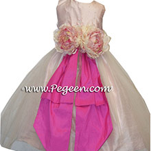 LIGHT PINK AND HOT PINK SEQUINED  AND HOTLIGHT PINK AND HOT PINK SEQUINED  SEQUINED SILK ORGANZA Flower Girl Dresses
