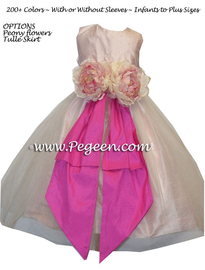 Sequin Silk and Cerise Flower Girl Dresses style 315