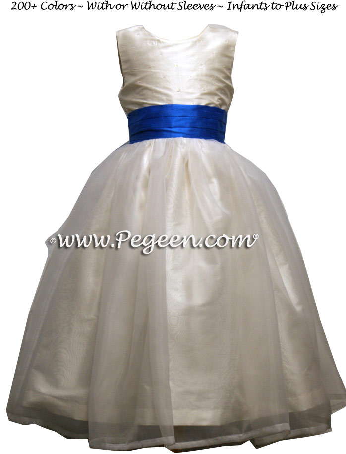 Antique White and Malibu Blue and Organza Flower Girl Dresses style 315