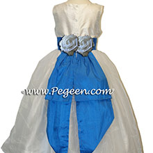 MALIBU BLUE AND WHITE SEQUIN SILK Flower Girl Dresses
