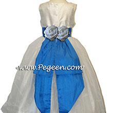 MALIBU BLUE AND WHITE SEQUIN SILK Flower Girl Dresses