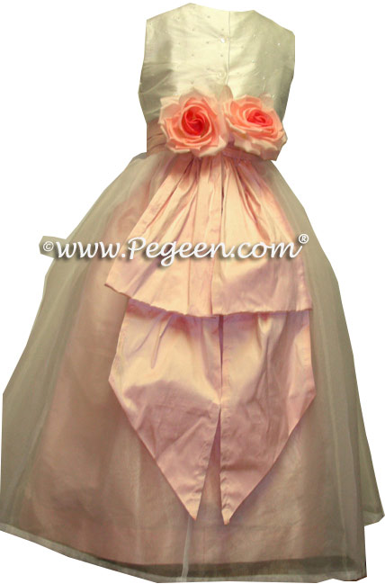Sequinned silk and petal pink Flower Girl Dresses