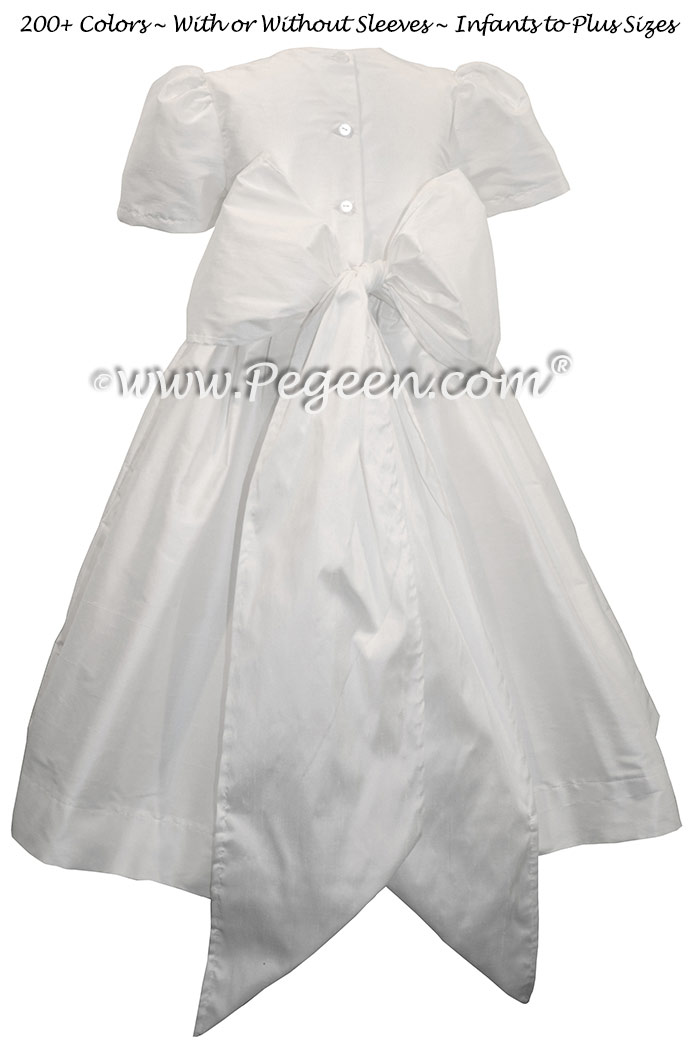 Antique White flower girl dress in silk Style 318