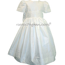 Antique White Silk Flower Girl Dresses style 318 by Pegeen