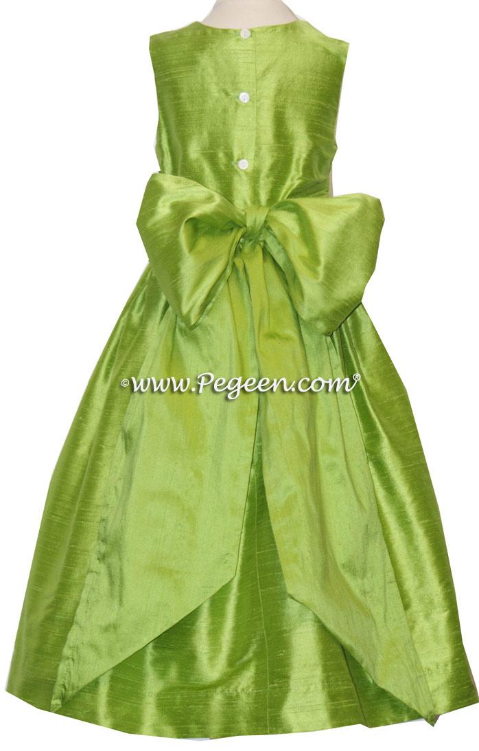 Apple Green Silk Flower Girl Dresses Style 318