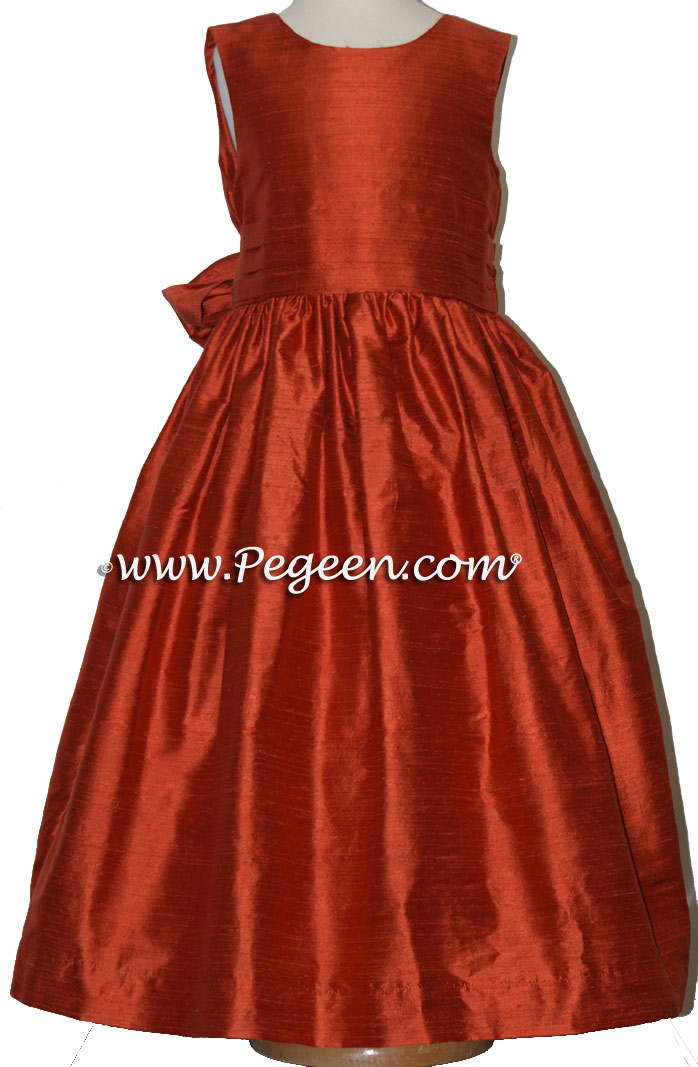 Autumn (rust) silk Flower Girl Dresses Style 318