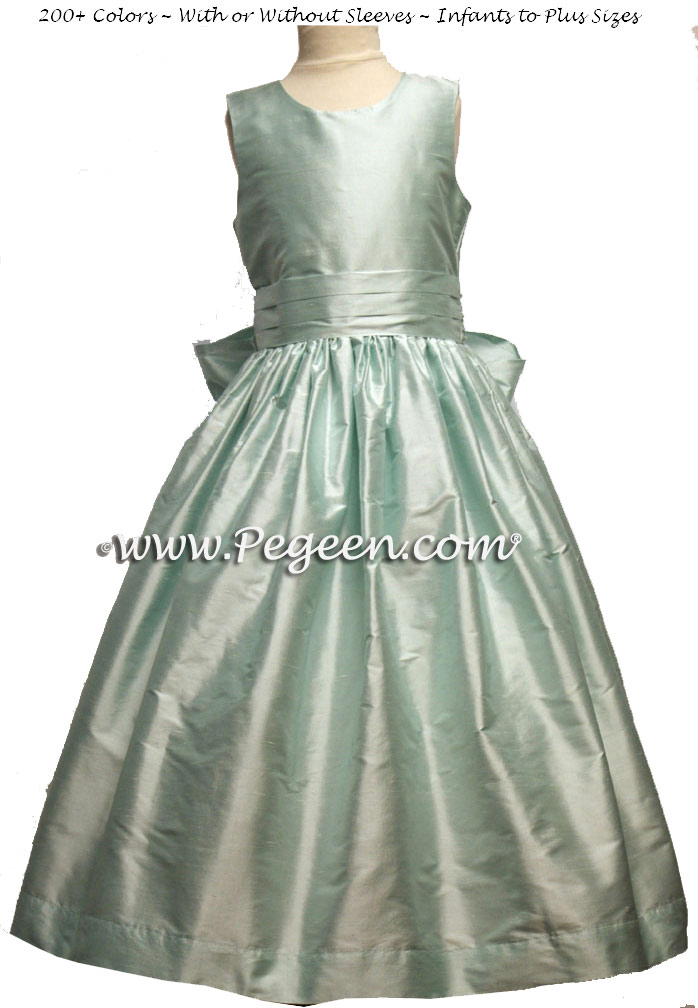 BAY (CAPRIS BLUE) SILK FLOWER GIRL DRESSES