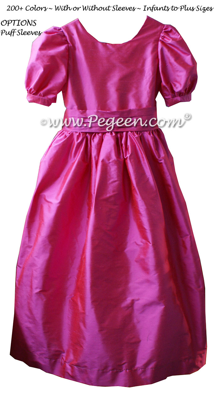 Shock pink silk flower girl dresses with puff sleeves style 318 | Pegeen
