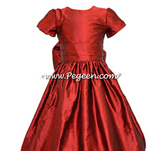 Claret (red) Silk Flower Girl Dresses style 318 by Pegeen