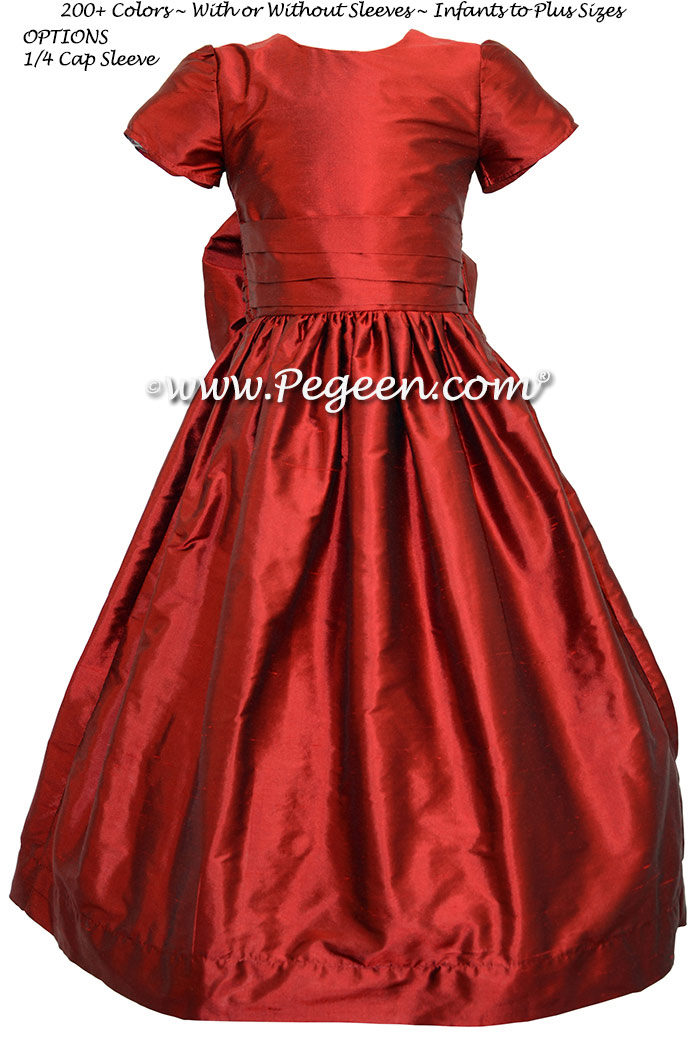 Claret (red) flower girl dress in silk