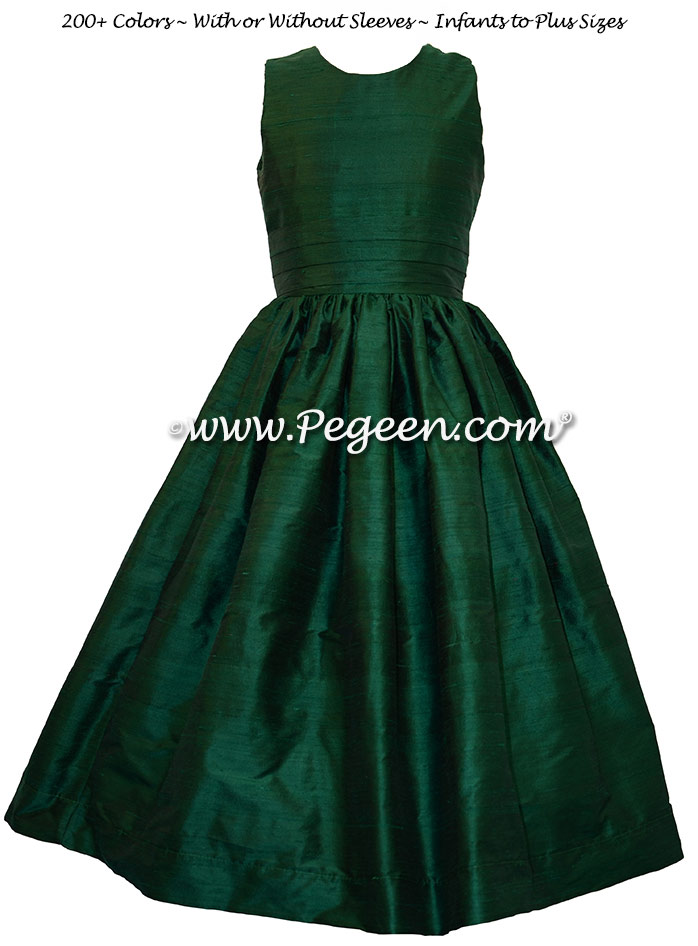 Forest Green flower girl dress in silk