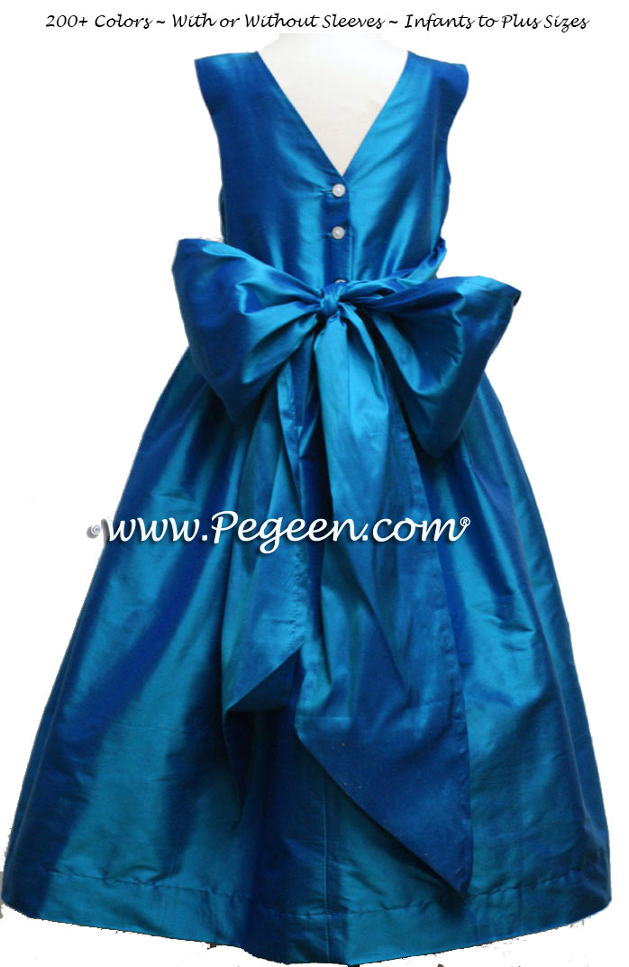 Silk flower girl dresses for your wedding party in Jewel color | Pegeen