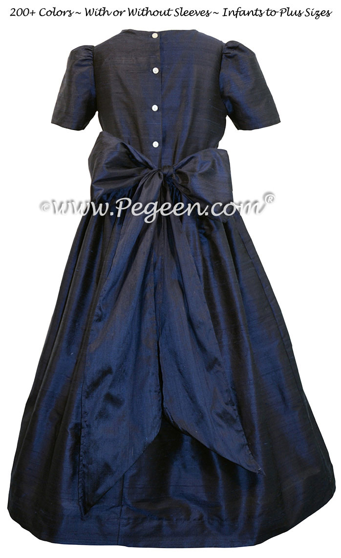 Navy blue silk flower girl dresses style 318 pegeen flower girl dresses in navy blue izmirmasajfo