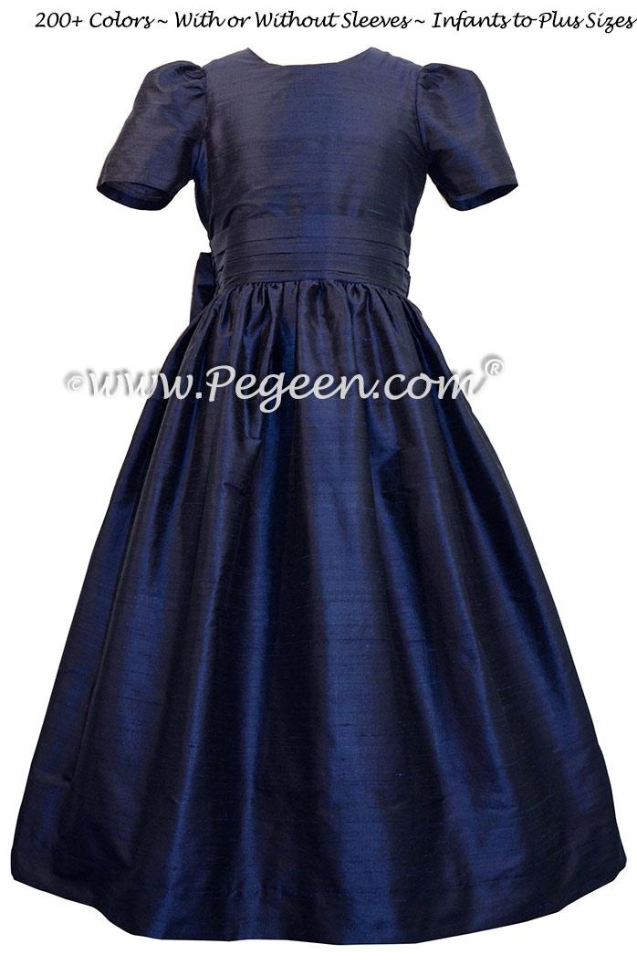 Custom Navy Blue flower girl dress in silk Classic Style 318