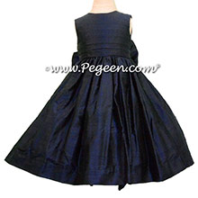 Navy Silk Flower Girl Dresses style 318 by Pegeen