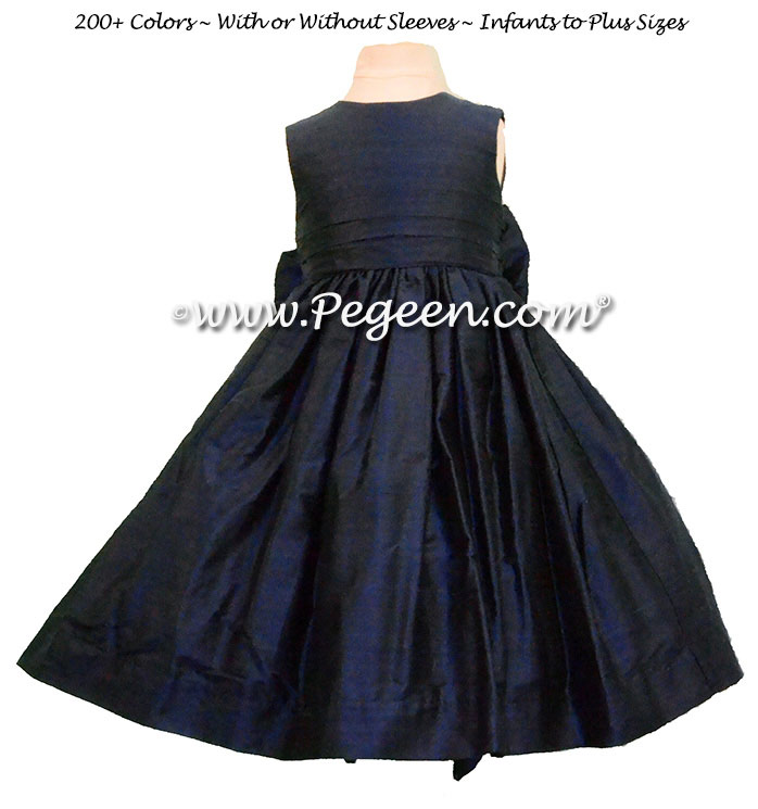 Custom Navy Blue flower girl dress in silk Classic Style 318