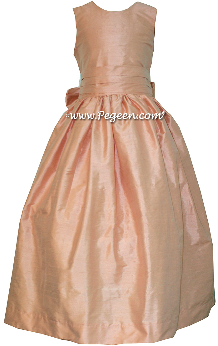 Custom Peach flower girl dress in silk Classic Style 318