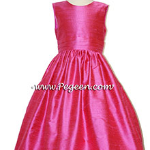 shcok pink silk flower girl dresses