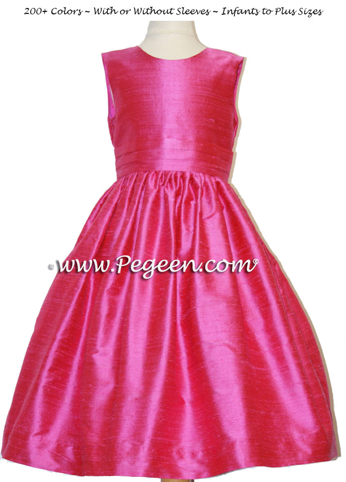 Custom flower girl dress in shock pink silk Classic Style 318 | Pegeen