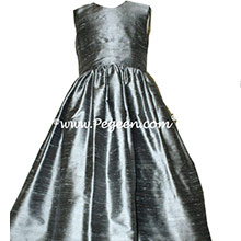 Silver Gray silk flower girl dresses