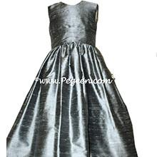 Silver Gray silk flower girl dresses