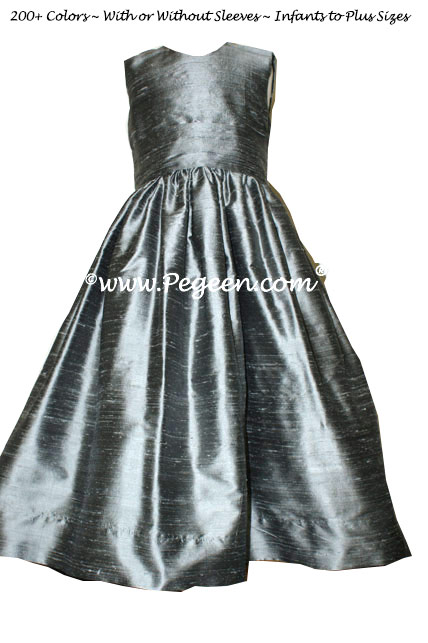 Custom Silver Gray flower girl dress in silk Classic Style 318