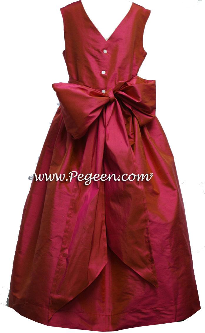 Shock pink silk flower girl dresses with v-back