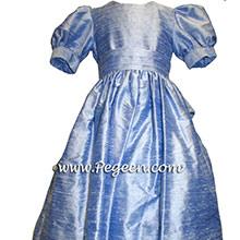 denim blue flower girl dress with sleeves