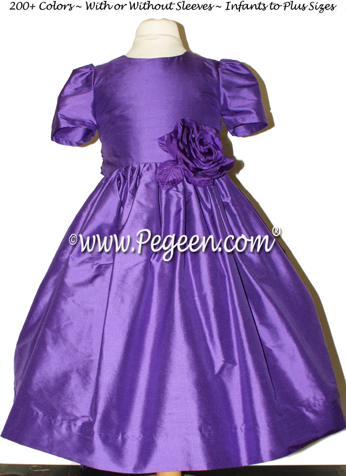 Custom silk flower girl dresses in Royal Purple from the Classic Collection