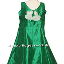 EMERALD GREEN SILK JR BRIDESMAIDS DRESSES