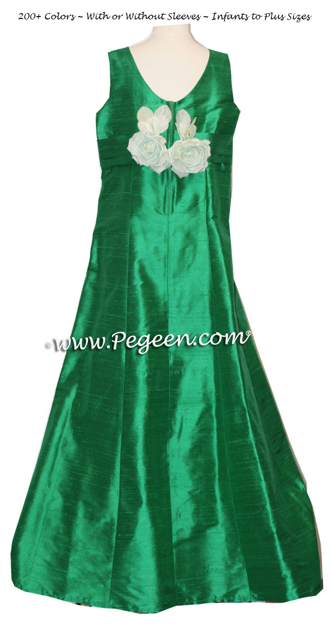 Jr Bridesmaids Dress in Emerald Green silk - Style 320 | Pegeen