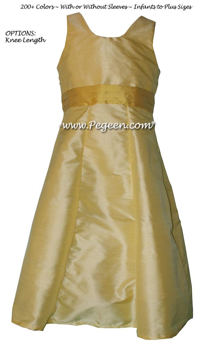 Jr Bridesmaids Dress Style 320 Lemonade and Golden Rod Silk | Pegeen